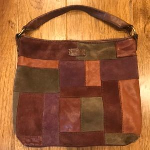 Lucky Brand Leather/Suede Patchwork Hobo Bag